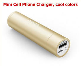 Mini Cell Phone Charger, cool colors
